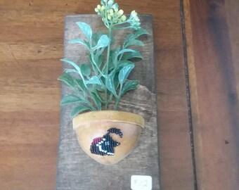 Gambel quail beaded gourd wall plaque