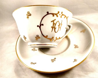 1940s French Porcelain Oversized Tea Cup/Saucer,  Gold Decoration and  Trim.