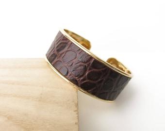 Bracelet, Cuff, Leather, Imitation Croco, Chocolate