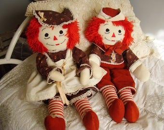 "Vintage 24"" RAGGEDY ANN & ANDY Soft Dolls/handmade/1980's"