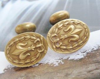 VICTORIAN Antique French FLEUR de LIS Ribbon Bow Garland Repousse Brass Bean Back Cuff Links Edwardian Gothic Cufflinks Jewelry