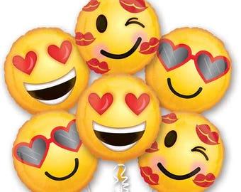 Smiley Face Balloons Bouqet, Smiley Face Balloons, Valentine's Balloons, Emoticon Balloons, Anniversary Balloons