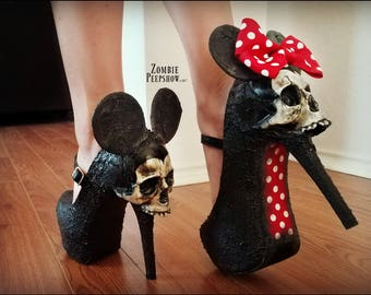 """Golden Age of Grotesque """"Till Death Do Us Part"""" Mouse Skull Pumps"""