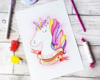 Unicorn Quote Believe Unicorn Art Print Watercolour Painting Print Unicorn Gift Home Gift Children's Bedroom Motivational Quote