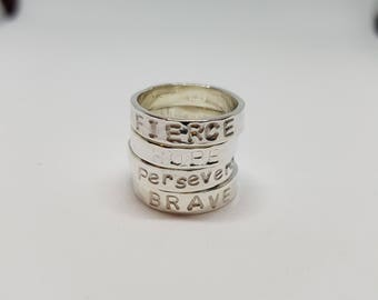 Silver Ring Names Hand stamped Ring Sterling Silver Ring Word Ring Inspirational Ring Stackable Ring