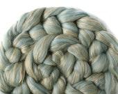 Blended tops - Merino - Tussah silk - Flax - 100g / 3.5oz - duck egg blue