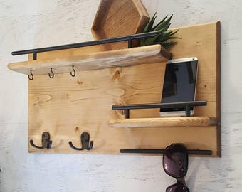 Wood Coat Rack || Entryway Organizer, Mail Storage, Key Hook, Floating Shelf, Wall Mounted Wood Organizer,  Entryway Hooks. Rustic Coat Rack