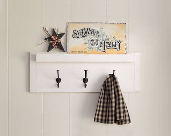 Farmhouse coat rack, wall rack with hooks and mail holder, distressed towel rack