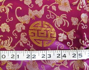 "Vintage 46"" x 1.3 yds Silk Satin Brocade Cheongsam Fabric Burgundy Purple Gold"