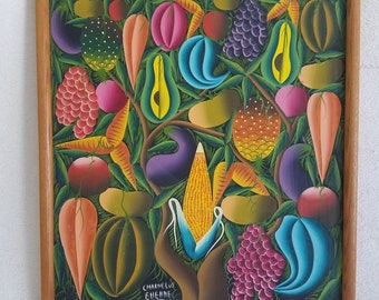 """Charnelus Ehenne Colorful Fruit and Vegetables Oil Painting 25"""" x 21"""""""