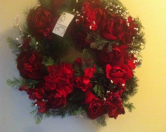 Beautiful evergreen rose pipberry wreath