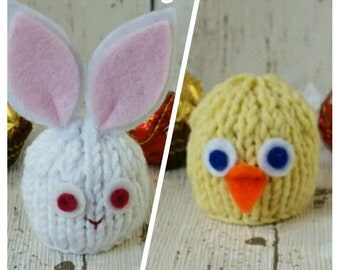 White Rabbit Knitting Pattern, Easter Bunny knitting pattern, Easter Chick Knitting Pattern, Lindt Lindor cosy, Ferrero Rocher favour, Cover