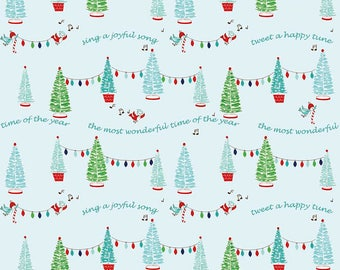 Christmas Fabric/Blue and Green Bottle Brush Trees/Pixie Noel/Cotton Material/Quilt, Clothing, Craft/Fat Quarter, Half, By the Yard, Yardage