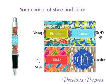 Personalized teenage boy pen, tween boy pen, teenage boy gift, surf pen, surfboard pen, surfboard gift, surfer gift