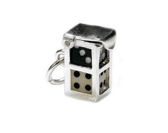 Sterling Silver Opening Black & White Dice In Case Charm For Bracelets