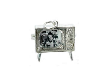 Sterling Silver Opening Beatles TV Set Charm For Bracelets