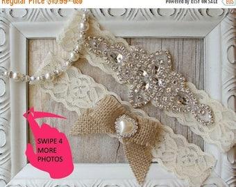 STOREWIDE SALE BEST Seller Rustic Wedding, Garter Set - Burlap Wedding Garter Set, Rustic Garter Set, Lace Bridal Garter, Burlap Garter Set,
