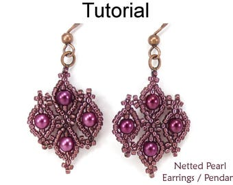 Beading Tutorial Pattern - Earrings Necklace - Netting Stitch - Simple Bead Patterns - Netted Pearl Earrings & Pendant Necklace #25898