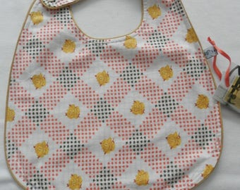 Floral yellow and orange cotton, reversible bib 0-4 years