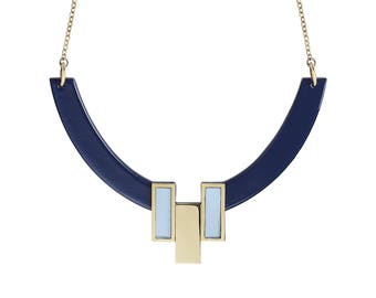 Collier Java Bleu Marine & Bleu Pastel • ras de cou •  géométrique • minimaliste • noël • or