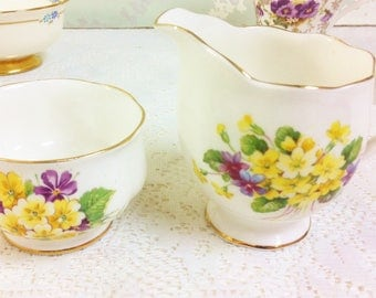 Royal Albert  Primula  Creamer and Sugar Bowl
