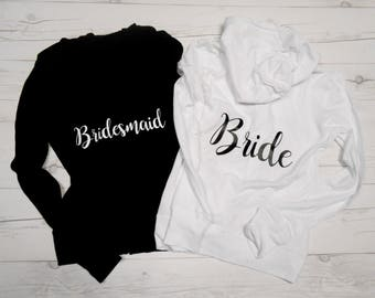 Set of 2 Bridesmaid Hoodies, 2 Bachelorette Party Hoodies, 2 Bridal Hoodies, 2 Wedding Party Hoodies, 2 Bachelorette Zip-Up Jackets