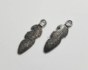 Silver Feather Charms