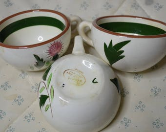 Three Vintage Stangl Cups Thistle Pattern