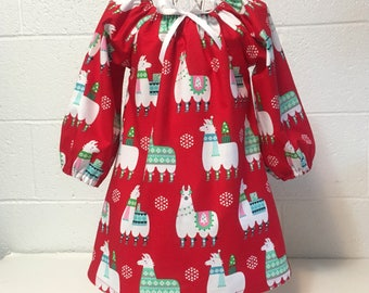 Holiday Llamas Toddler Dress Little Girl Dress Christmas Red Llamas