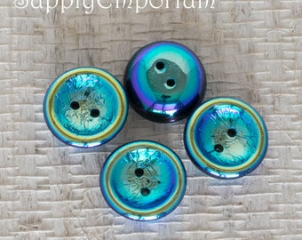 Jet Full AB Czech Glass Cup Button, 4 Beads, Jet Full AB 14mm Cup Button Bead, 4913