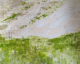 Original Fine Art Abstract contemporary Landscape Acrylic Painting Wall Art on Paper 11 x 14 inches green white pallete knife handmade