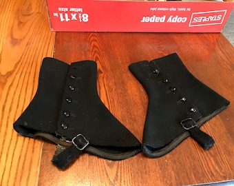 Vintage Victorian Edwardian Black 5 Button Gaiters' Spats