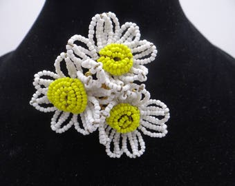 1950s Vintage Signed Miriam Haskell Large White and Yellow Daisy Beaded Brooch - Beautiful