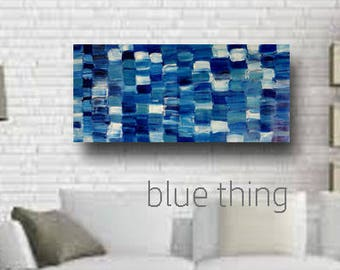 Large Blue Geometric Original Modern Vertical Canvas Abstract Art Painting Home Decor Wall Hanging Office Artwork Living Bedroom Home Print