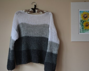Hand Knit Mohair Sweater Fluffy Tunic Loose Knit Women's Sweater gray White