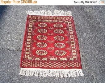 SUMMER CLEARANCE 1970s Vintage, Hand-Knotted, Bokara Rug (2844)