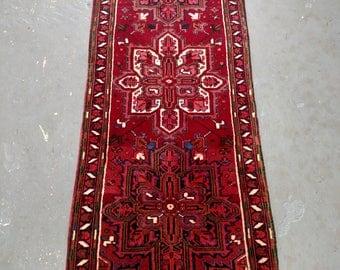 Persian Rug - 1980s Hand-Knotted Heriz Persian Runner (3704)