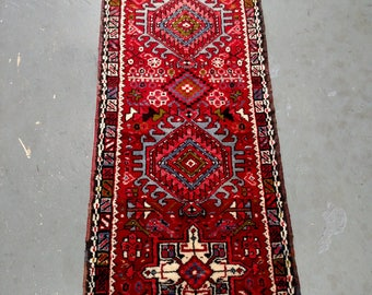 Persian Rug - 1980s Hand-Knotted Karaja Persian Rug Runner (3706)