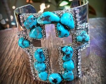 Turquoise Cross Bracelet, Turquoise Bracelet, Silver Cuff Bracelet, Wide Cuff Bracelet, Statement Bracelet, Bohemian Jewelry
