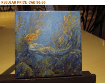 SALE Mermaid Mini Fantasy Original Art 3x3 Miniature Acrylic Painting on Canvas Board