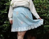 CLEARANCE - FINAL SALE - Plus Size - Vintage Floral Paper-Bag Waist Ruffle Hem Skirt (Size 14/16)