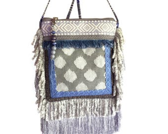 Festival purse Aztec style, mini cross body fringed, unique gift for women, mini bag recycled jeans, fabric purse yellowstone, handmade bag