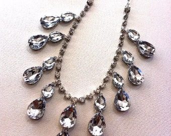 ROYALTY Luxe Clear Rhinestone Stone Jewelry Necklace and Earrings Set with Silver trim