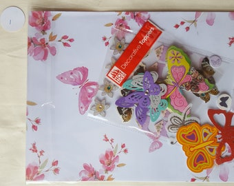 Butterfly Collage Pack 1 ephemera die cuts paper Inspiration pack for junk journals scrapbook cardmaking feathers flowers