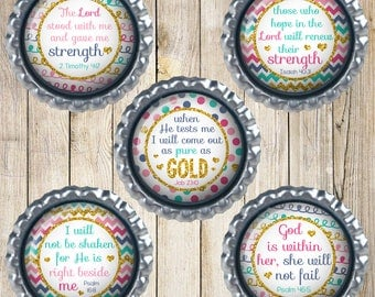 Bible verse magnets - Bottle cap magnets - Set of 5 - Rainbow magnets - I will not be shaken - God is within her, she will not fail