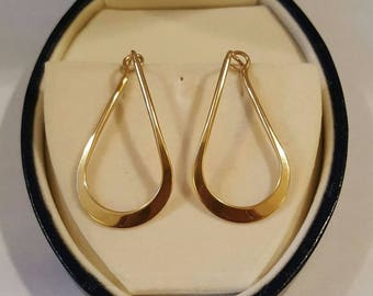 14k Yellow Gold Twisted Hoop Post Earrings