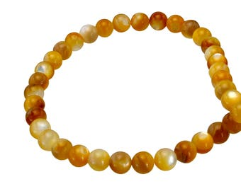 Natural Shell Round Beads Gold Diameter 6 mm, Natural Shell Round Beads, Full Strand, Natural Gold Shell, Natural Brown Shell, 1mm Hole