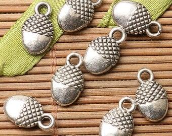 30pcs dark silver color pinecone design charms EF2685