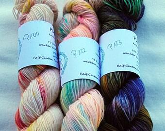 Handdyed SockYarn-KIT 3x 100g 75 Wool, 25 Polyamid 3x 3.5 oz. #12