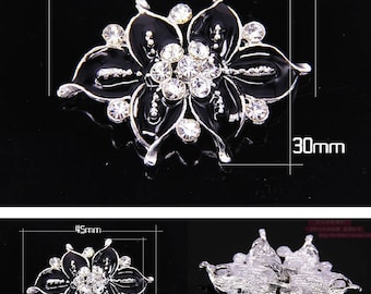 Wedding clasp,Crystal button, Black flower clasp, Rhinestone crystal clasp, Black enamel clasp closure button, hook and eye closure